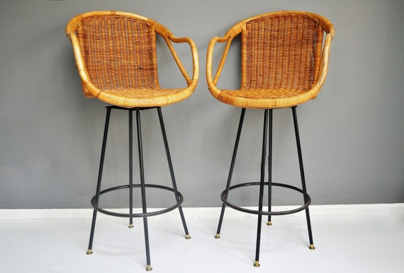 vintage rattan swivel bar stools. Black Bedroom Furniture Sets. Home Design Ideas