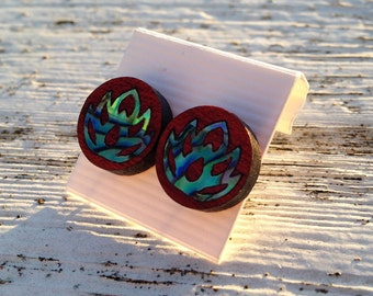 Lotus Flower Abalone Inlay Post Earrings - Bloodwood Stud Earrings with Natural Shell Inlayed