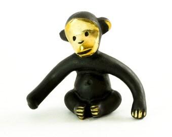 """Walter Bosse Monkey - Brass """"Black Gold"""" Monkey Figurine — """"Affe"""""""