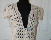 Crochet Vest Ecru Cotton Cap Sleeve Exquisite Detail in trim size Med/Large