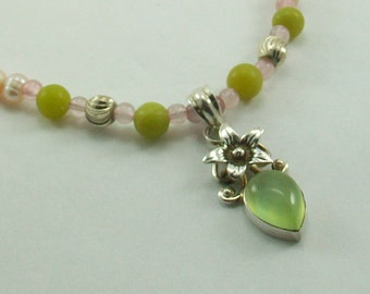 Sterling Silver and Jade Necklace with Freshwater Pearls
