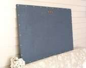 Burlap Magnet Board - MAGNETIC Organization Bulletin Board - 26.5 x 38.5 inches - with Silver Upholstery Nail Head Tacks in Navy Blue