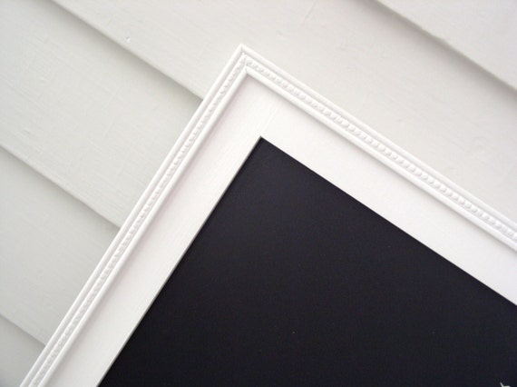MAGNETIC CHALKBOARD - Framed Office Organizer - 20.5 x 26.5 Cottage Magnet Board with Handmade White Wood Frame - Menu Board