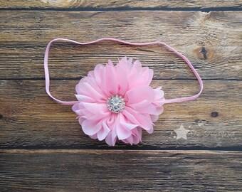 Pink headband, baby elastic headband, light pink, baby headband, infant headband, newborn headband, baby gift, baby girl headband, hair clip