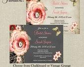 PRINTABLE Vintage Colorful Flowers Bridal Shower Invitation - Digital DIY - Baby Shower, Wedding Invitation, Birthday