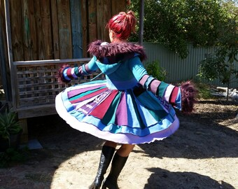 recycled elf coat....earth friendly,patchwork,pixie hood, upcycled rainbow sweater coat ...