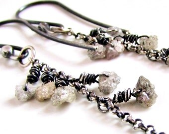 Silver Rough Diamond Dangle Earrings April Birthstone Rustic Gemstone Jewelry Oxidized 925 Sterling Silver Handmade Earrings Ready to Ship