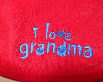 Baby Bib I Love Grandma Bib Red Embroidered Bib Baby Girl Baby Boy Baby Shower Gift Idea