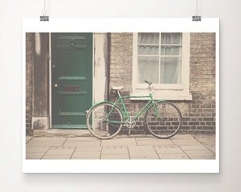 green bicycle photograph green door photograph cambridge photograph green bicycle print green door print travel photography