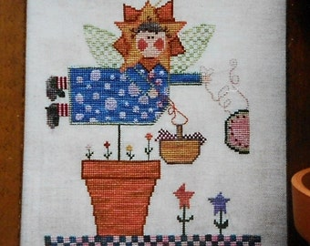 CLEARANCE Fanci That Primitive SUMMER ANGEL Folk Art - Counted Cross Stitch Pattern Chart