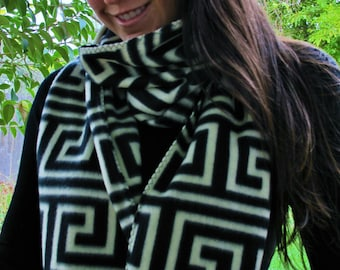 LABYRINTH SCARF Polar Fleece Scarf Handmade Unisex Black White Gothic Maze Warm Meander Spiral Op Art greek key Fractal NEW Long Wrap