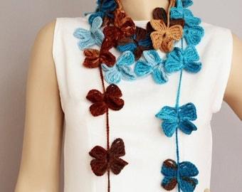 crochet lariat scarf  ,crochet flower scarf.crochet jewelry scarf