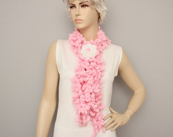 Mulberry scarf  /Pompom scarf /cocoon scarf with removable  crochet brooch ,in pink