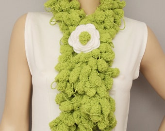 Mulberry scarf  ,Pompom scarf ,cocoon scarf with removable  crochet brooch ,green