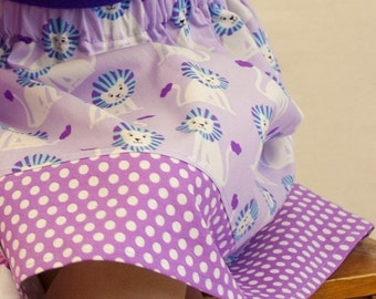 Michael Miller lions Skirt in lilac ( 12 mos, 18 mos, 24 mos, 2t, 3t, 4t, 5t, 6, 7)