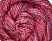 55/45 sw bfl silk yarn CHERRY CABARET hand dyed fingering weight 3.5oz 435 yards