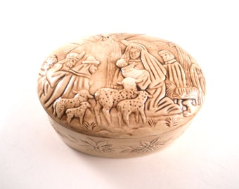 Ceramic Trinket Treasure Box With Jesus Mary and Joseph manger scene