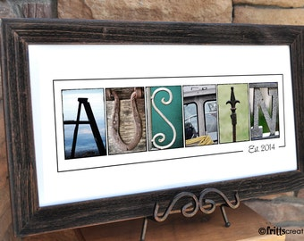 Personalized Letter Art, YOUR LAST NAME in Color Photo Letters, Print Only (unframed), great wedding gift