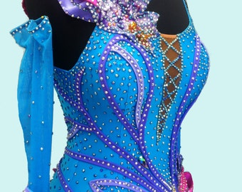 Blue Ballroom Dance  Dress    Blue Smooth Dance Gown