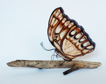 Butterfly on driftwood free standing sculpture