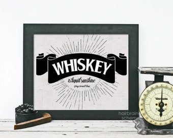 Retro Typography Art Print Whiskey Print - Distressed Black Gray Sign Art Print -  Mad Men Liquid Sunshine Husband Fathers Day Bar Decor