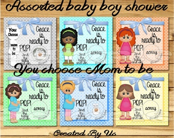 Ready to Pop Baby Shower Baby boy Scratch off cards card game Scratch tags Party Scratch off game Favors baby shower scratch offs CHOOSE Mom