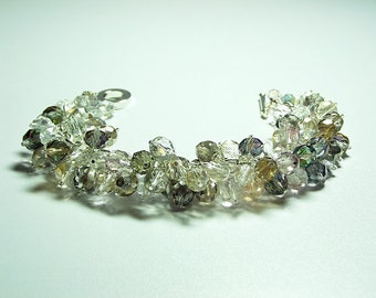 Fall Colors Crystal Cluster Bracelet, ONLY ONE, Christmas Gift, Mom Sister Bridesmaid Jewelry Gift, Sparkle
