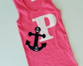 Summer nautical summer hot pink tank shirt personalized with white initial and navy blue anchor applique sizes girls NB- 16