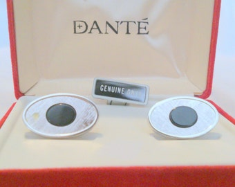 Vintage NOS Men's Onyx Cuff Links by Dante