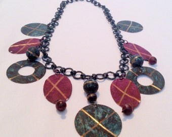 Vintage Multi Color Painted Brass Charm Statement Necklace
