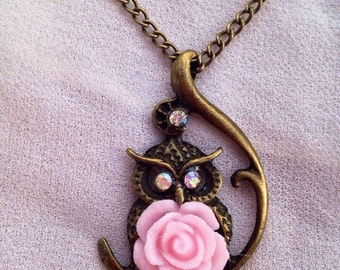 Light pink resin flower on brass owl pendant necklace with 3 swarovski crystals!