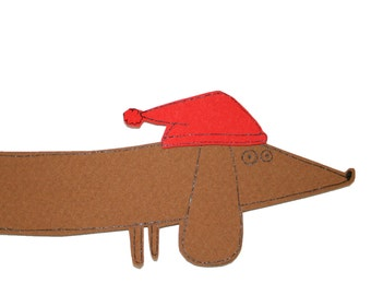 Dachshund Christmas Card, Dog Christmas Card, Cute Sausage Dog with Red Santa Hat Card, Wiener Dog Christmas Card, Doxie Christmas Card