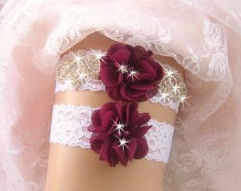 Wedding Garter, Burgundy Bridal Garter, Wedding Garter Set, Lace Garter, Toss Garter  Ivory with Rhinestones and Pearls