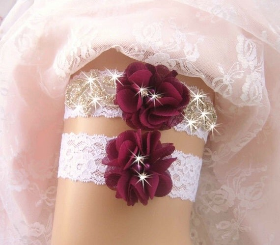 Wedding Garter Pictures: Wedding Garter Burgundy Bridal Garter Wedding Garter Set
