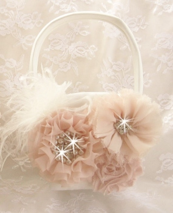 Flower Girl Basket Blush : Flower girl basket blush and cream by