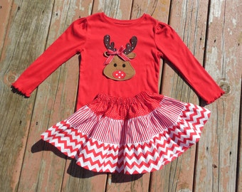 Girl's Toddlers Christmas Skirt and Shirt Outfit -  Tiered Red and White Skirt with Reindeer Applique Shirt