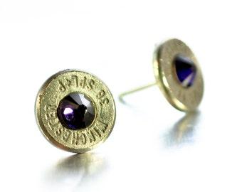 Bullet Stud Earrings - Silver and Dark Purple