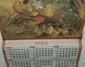 Vintage Silk Japanese 1988 Calendar from Yamaha