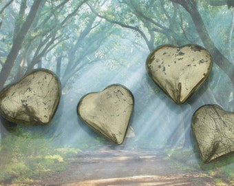 PYRITE HEART - Palm Stone XL Solid Smooth Fools Gold ~ Gift Box