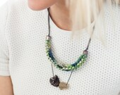 "Knitted Fabric Stone Bead Pendant Necklace, Raw Lemon Quartz, Smokey Quartz - ""Jonathan"""