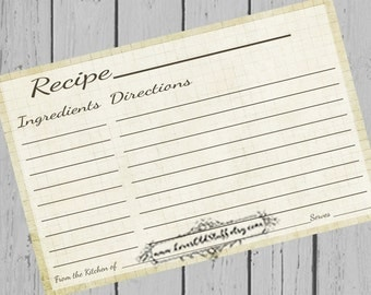 Printable Recipe Card Template 3.5x5 | 3x5 Blank Recipe Cards | 4 x 6 Recipe Card For Bridal Shower