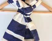 Scarf- Dark Navy & White Cotton  Wool Scarf, Men Women Ethiopian Scarf Hand- Woven Navy Blue and white Scarf Multi striped Scarves- Navy