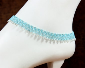 Blue Ankle Bracelet - Victorian Lace Anklet - Beadwork Jewelry - Seed Bead Aqua Anklet - Foot Jewelry - Summer Anklet