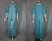 1950s Carters Blue Peignoir Robe, Beaded Double Nylon Chiffon Sheer, Medium, Large