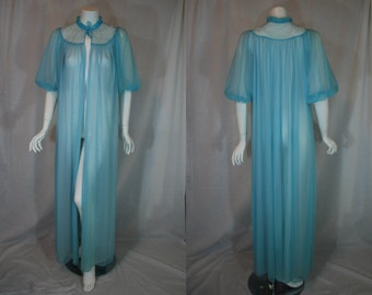 1950s Carters Blue Peignoir Robe, Beaded Double Nylon Chiffon Sheer, Medium, Large
