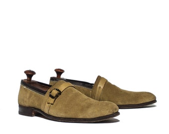 11 AA/AAAA | Men's Johnston and Murphy Aristocraft Monk Strap Soes in Avacado Yellow Green Suede