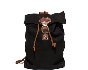 Vintage Leather Backpack Handmade Black Leather Daypack with Woven Leather Straps