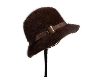 Brown Angora Kangol Hat Ribbon Brim with Gold Buckle Made in England