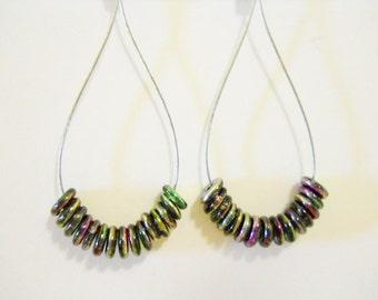 Earrings, Czech Lentil disc  beads on flex wre