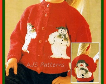 PDF Knitting pattern for a Childs Festive Christmas Snowman Cardigan - Instant Download